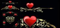 Coração e padrão de vetor