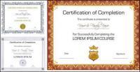 Diseño de vector tres certificados