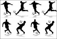 4 figuras de acción de fútbol silueta Vector