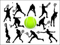 Tennis Aktion Zahlen Silhouette vektor