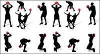 Silhueta de figuras de ação de basquete