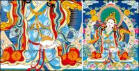 Mãe de Lin Thangka tibetano para três linhas de vetor vazio AI