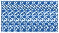 Porcelaine bleu et blanc, vecteur de patron de porcelaine bleu et blanc