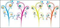 Árbol color flores vectoriales