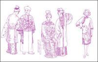 सांग राजवंश युआन वंश परिधान परिधान परिधान मिंग राजवंश किंग राजवंश वस्त्र रेखा आरेखण
