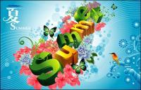 Verão, flores, borboletas, pássaros tridimensional caracteres