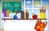 Канцелярские товары, доски, Чернильница, Чернильные перья, книги, школьные ранцы вектор