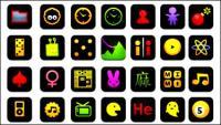 Noir icônes, boutons de web, bombes, caméra, jeux de calculatrice horloge Bluetooth