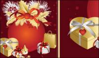 Navidad, cintas, arcos, vector de regalo