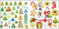 Santa Claus, etiqueta, muletas, arco, calcetines, vector de copo de nieve