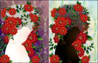 หญิงกับดอกไม้เวกเตอร์ -4 วัสดุ