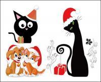 Anjing dan kucing Natal vektor