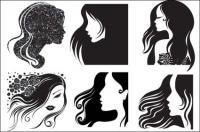 Cabeça feminina, vetor de cabelo