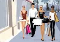 Vektor materiell M�nner und Frauen Fashion shopping