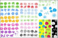 Patrones, flores, vector de tinta