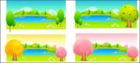 木と湖の色のベクトル