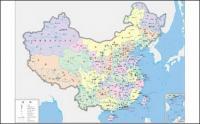 중국 지도 (4 색) 벡터