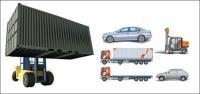 รถยนต์ รถบรรทุกคอนเทนเนอร์ ลากรถบรรทุก รถยนต์ขนาดใหญ่ รถยกของเวกเตอร์