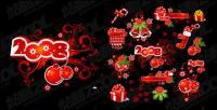 Elementos de decoración de Navidad 2008 y patrones de material de vectores