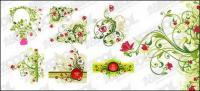 벡터 자료의 빨간색 및 녹색 꽃 패턴 조합