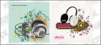 2, Kopfhörer-Thema-Vektor-material