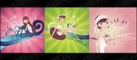 3, illustrations de personnages attachants mode vecteur matériel