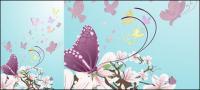 बैंगनी फूलों और तितलियों