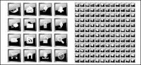 Cientos de icono material de vectores de cristal negro