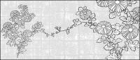 花 37(Chrysanthemum, background) のベクトル線の描画