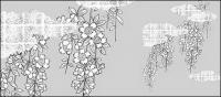 वेक्टर रेखा आरेखण फूल-38(Cherry blossoms, clouds, gilded lattice) से