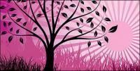Coucher de soleil et les arbres vecteur matériel