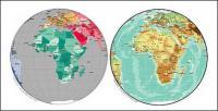 दुनिया उत्तम सामग्री - अफ्रीका के गोलाकार मानचित्र के सदिश मानचित्र