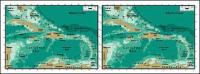 Mapa de vetor do material requintado mundo - mapa Antilles