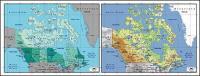 แผนผังของเวกเตอร์ของโลกสวยงามพร้อมวัสดุ - แคนาดาแผนที่
