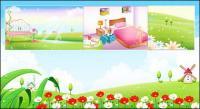 Primavera, verano, habitación, el paisaje de vector de red