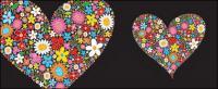 ดอกไม้สีสันสวยงามประกอบด้วยรูปหัวใจ