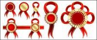 Matériau de vecteur insigne ruban rouge