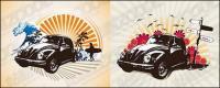Ilustraciones de tema de coches clásicos retro