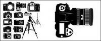Vectores de siluetas de cámara digital en blanco y negro