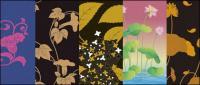 Vecteur série picturaux traditionnels 2-plantes fleuries