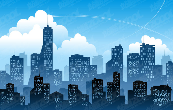 Keyword Vector Illustration Silhouette Sky And The City