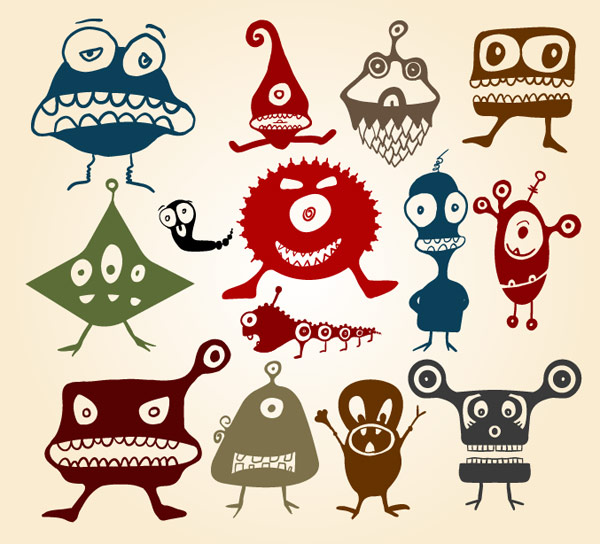 Cute Little Cartoon Monsters