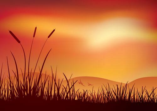 Keywords Dusk Grass Silhouette Landscape Scenery Vector