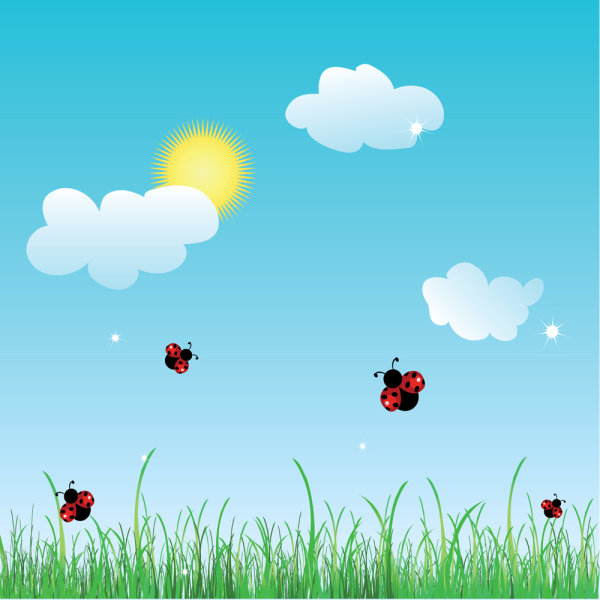 Summer cartoon images 01 - vector