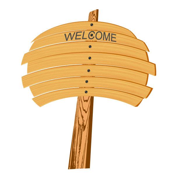 Cartoon wood sign 02 - vector
