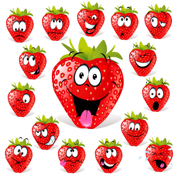 Cartoon fruit expression 03 - vector 