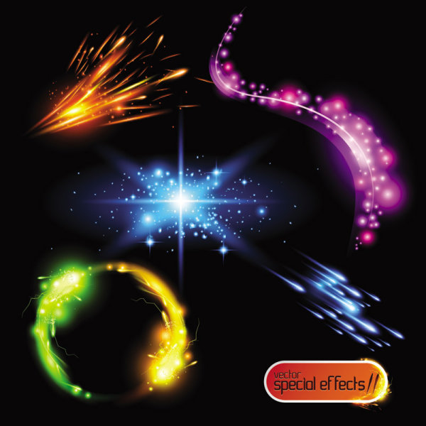 Gorgeous and dazzling lighting effects 02 - vector 