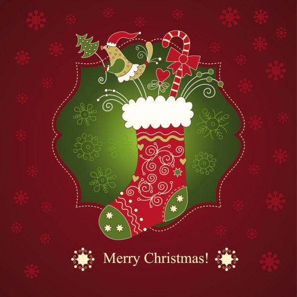 ff0de5c806b98 Beautiful Christmas card 01 - vector material