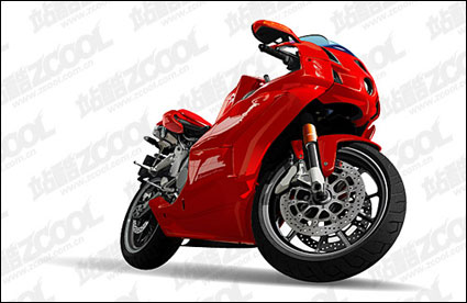red drawing vivid motorcycle Vector