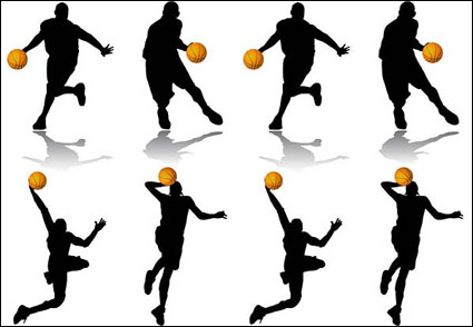 People silhouette Vector of basketball